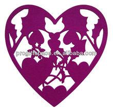 High Quality Laser Cut Felt Heart Shaped Wedding Coasters - OEM Welcomed