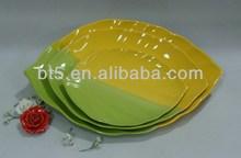set of 3 ceramic tree leaves dinner plate