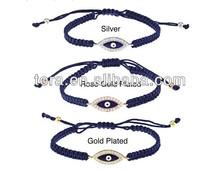 high quality handmade rope bracelet wholesale metal around rhinestone evil eye bracelet
