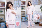 women soft long sleeve pajamas suit cotton pregnant women pajamas