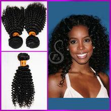 Mejores ventas de la armadura del pelo y productos de belleza marrón natural rizado rizado extensiones de cabello