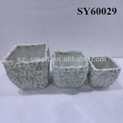 Brick like white clay pots terracotta
