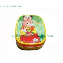 little white rabbit square candy tin box