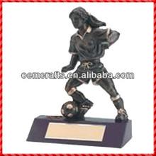 New resin soccer player Trophy Figures Metal