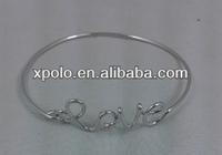 Wholesale hot sale Personalized simple design of elegant Imitation silver plated Love charm bangle handmade XP-CB-0562