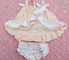 OU-A51 100% Cotton Frabic Kid Clothes Swing Top Set Children Clothes for girl 2pcs