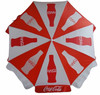 red and white promotional beach umbrella with brand logo