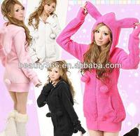 korean women hoodie cute women tops rabbit ear hoody