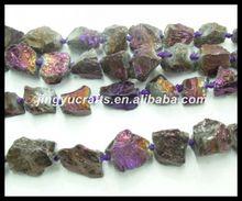 Gemstone Loose Beads Healing Crystal Titanium Purple Clear Quartz Natural Broken Nugget Beads