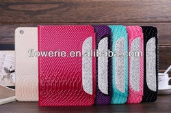 FL283 hot selling Snakeskin crystal glitter wallet leather case for ipad air