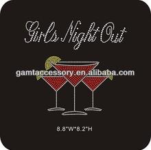 Hot Fix Rhinestone Motif Girls Night Out Wine Bling Designs for T Shirts