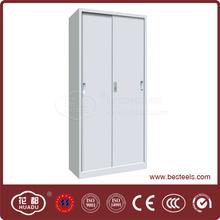 Light grey 2 door steel office use tall corner cabinets