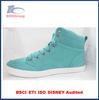 Popular style girl sneakers blue PU high heel sneakers