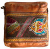 Hand made Genuine Leather Hand Embroidered Tote Bag with Natural Tan