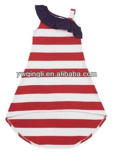 girls 4th of july high low dress preorder red stripe one shoulder formal dress super design girls dress