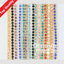 SS20 assorted color best-sellinjg cup chain rhinestone with golden claw stone.sparse claw chain for jeans