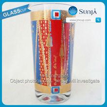 Unique design round decal glassware