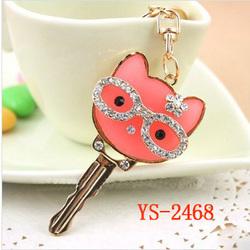 YS-2468 Crystal cat with glasses rhinestone keychain key chain keyring key ring charm