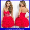 CD-636 Stunning sweetheart neckline fitted torso layered ruffled skirt cheap red party dresses for women