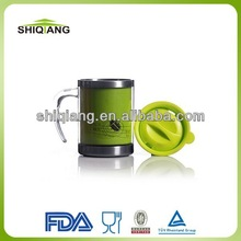 China wholesale 400ml stainless steel coffee mugs plastic outer with handle and lid