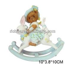 Hot selling resin bear on bunny easter gift