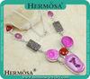 Natural Gemstone Pink Solar Quartz Shive Eye Necklace Large Costume Jewelry 18