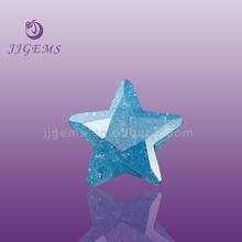 Top quantity synthetic aquamarine star shape ice crash stone