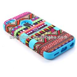factory price retro design 3 in 1 silicone aztec tribal case for iphone 4
