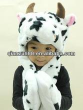 2012 fashion warm plush winter cute cow style animal hat