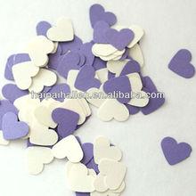 Purple and White hearts shape paper confetti for wedding
