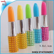 promotional novelty crystal bling mini lipstick plastic ball pens