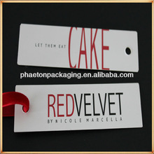 Qingdao custom 500g white matte/gloss card paper tags for underwear with all fonts debosses/sunken/embossed/hot stamping