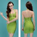 2014 novo design de alta qualidade verde moda viscose bandagem bodycon fotos de vestidos de senhoras china fornecedor oem