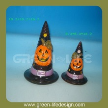 Decorative Terracotta halloween hat with pumpkin design
