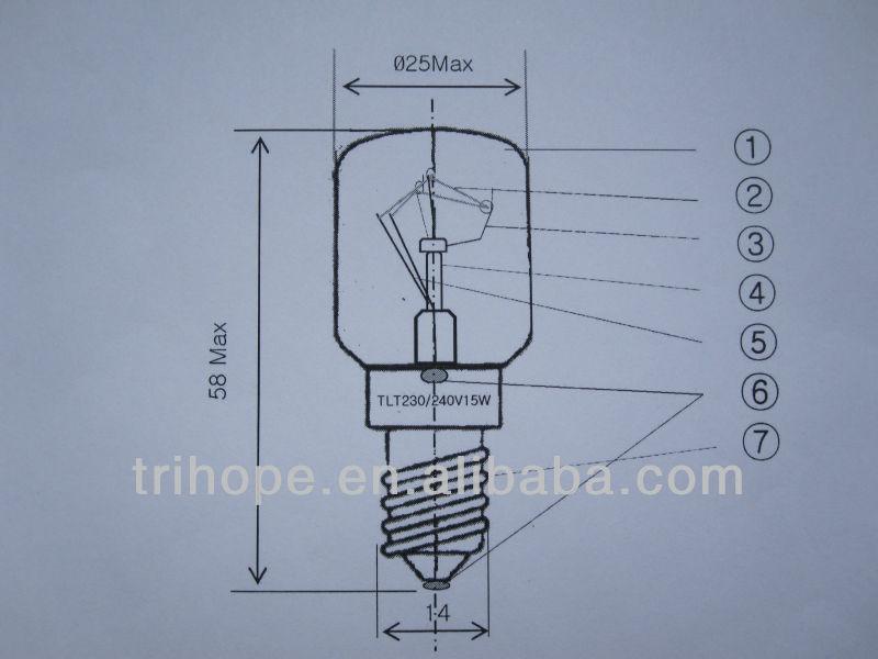 230V/15W indicator lamp used in frigerator