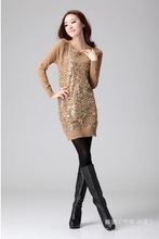 D60492A SLIM SEQUINED NEW KOREAN VERSION WAS THIN KNIT SWEATER LONG SWEATER DRESS