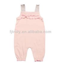 Baby girl 100% cotton interlock suspender romper