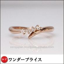 Used Jewelry Second hand / TAKE-UP 18carats k18 PG Pink gold Ring10Japanese size Diamond0.08ct diamond ring peridot
