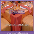TL022G Organza and coral satin cheap wedding table overlay
