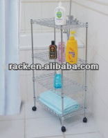 DIY Adjustable Chrome Bathroom Rack With Wheels--s