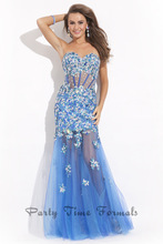 High Quality Free Shipping Sexy Girls Off The Shoulder Sweetheart Sleeveless Beaded And Appliqued Tulle Long Mermaid Prom Dress