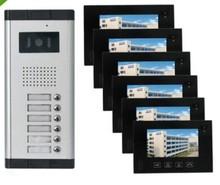"""7"""" LCD 6 Apartments Flats Touch Screen Panel Video Doorbell Door phone Intercom"""