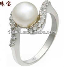 Shiny Silver Ring With Freshwater Pearl For Women