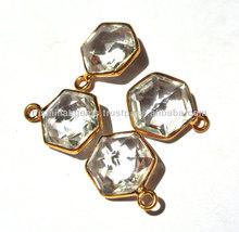 22kt gold Vermeil AAA Rock Crystal Quartz Faceted Hexagonal Shaped Bezel Size 21x16mm Approx, Semiprecious Gemstone, Connectors
