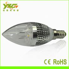 high power E14 CE&RoHS approved AC85-265V 3W Aluminum led candle lights dome shaped porcelain tea light candle holder