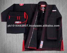 Brazilian Jiu jitsu kimono gi black with red Stitching. gracie bjj. Shoyoroll bjj. jiu jitsu. koral maxid martial arts. Atama