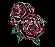 hot sale rhinestone transfer hot fix flower motif custome design