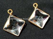 22kt oro vermeil de cristal de roca de cuarzo facetado en forma de kite de lujo biseles 26x21mm tamaño aprox, semipreciosas biseles, de piedras preciosas,