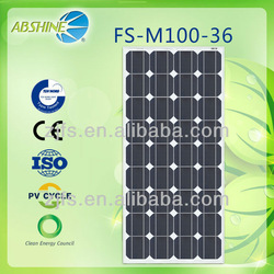 China manufacture supply mono crystalline silicon 12V 100 watt solar panel