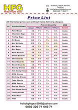 Introduction price list